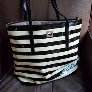 Kate Spade Patent Leather Tote. Black Beige